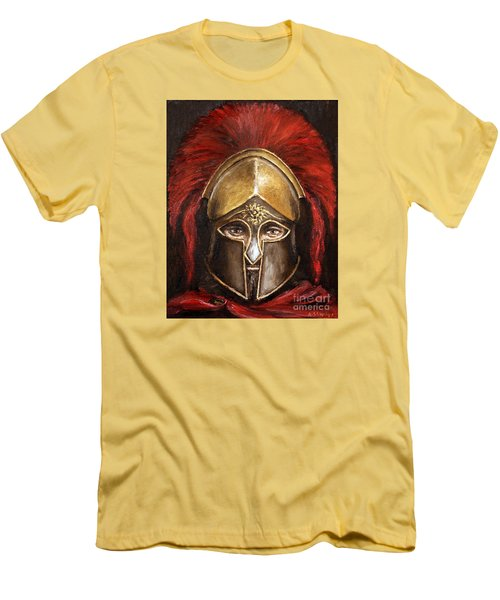 Men's T-Shirt (Slim Fit) featuring the painting Leonidas by Arturas Slapsys