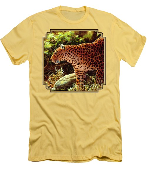 Leopard Painting - On The Prowl Men's T-Shirt (Slim Fit) by Crista Forest
