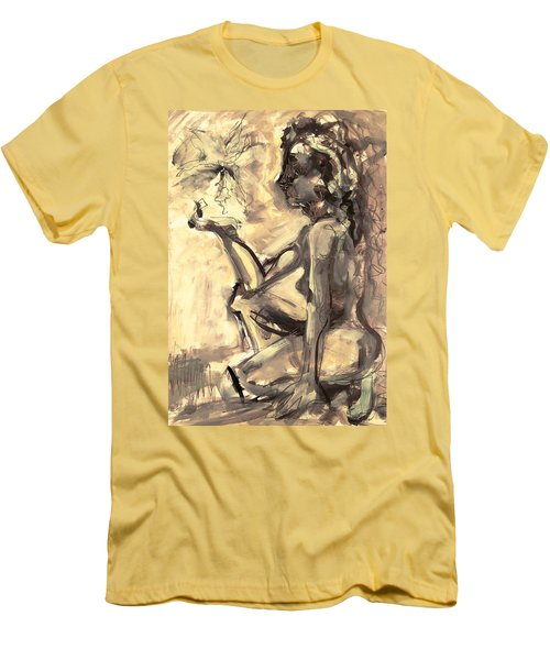 Men's T-Shirt (Slim Fit) featuring the painting Light And Shadow by Mary Schiros