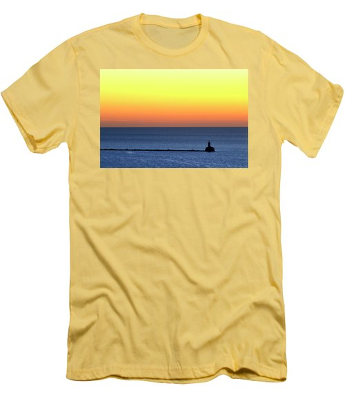 Lighthouse At Sunrise On Lake Michigan Men's T-Shirt (Slim Fit) by Zawhaus Photography