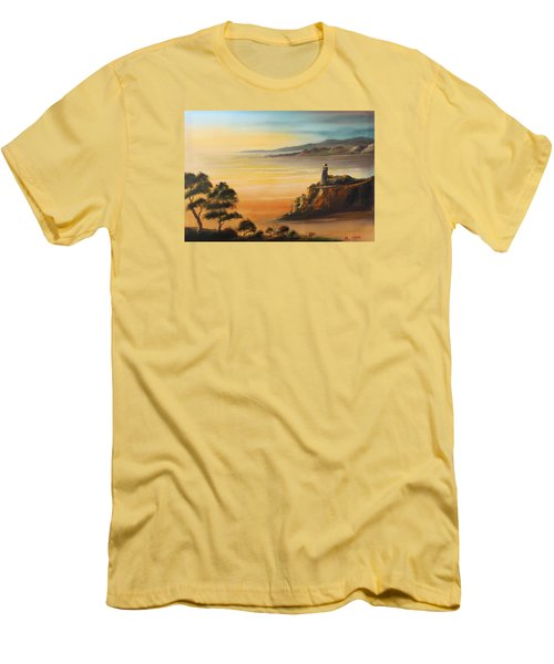 Lighthouse At Sunset Men's T-Shirt (Slim Fit) by Remegio Onia