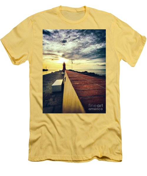 Men's T-Shirt (Athletic Fit) featuring the photograph Lighthouse At Sunset by Silvia Ganora