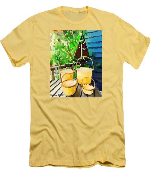 Lightship Baskets And Old Sailboat Windvane Men's T-Shirt (Slim Fit) by Melissa Abbott
