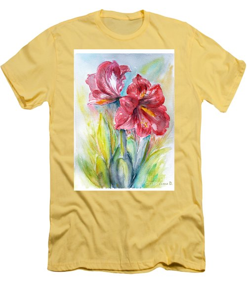 Lily Red Men's T-Shirt (Slim Fit) by Jasna Dragun