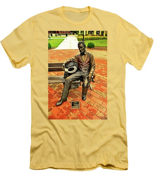 Men's T-Shirt (Slim Fit) featuring the photograph Lincoln Library Statue 004 by George Bostian