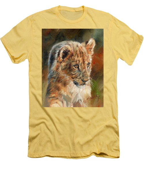 Men's T-Shirt (Slim Fit) featuring the painting Lion Cub Portrait by David Stribbling