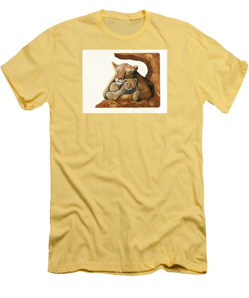 Lion - Protect Our Children Painting Men's T-Shirt (Slim Fit) by Linda Apple