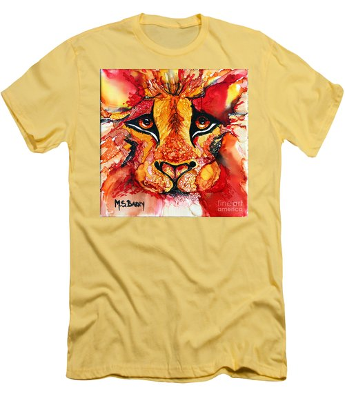 Lion's Head  Red Men's T-Shirt (Athletic Fit)