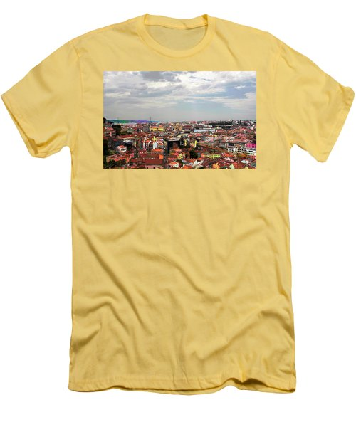 Lisbon's Chaos Of Color Men's T-Shirt (Slim Fit) by Lorraine Devon Wilke