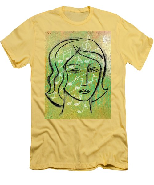 Men's T-Shirt (Slim Fit) featuring the painting Listening To Music by Leon Zernitsky