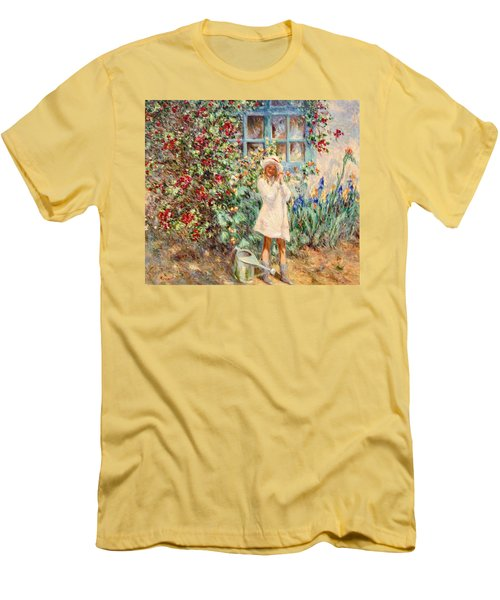 Little Girl With Roses  Men's T-Shirt (Athletic Fit)