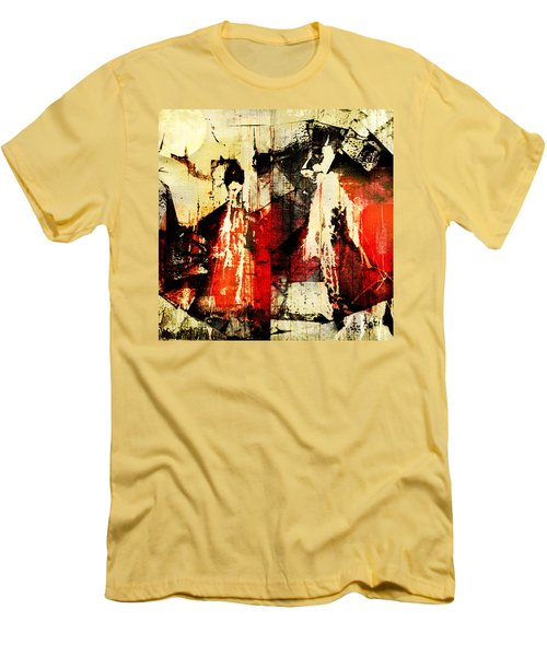 Little Red Riding Hood And The Big Bad Wolf Under A Yellow Moon Men's T-Shirt (Slim Fit) by Jeff Burgess