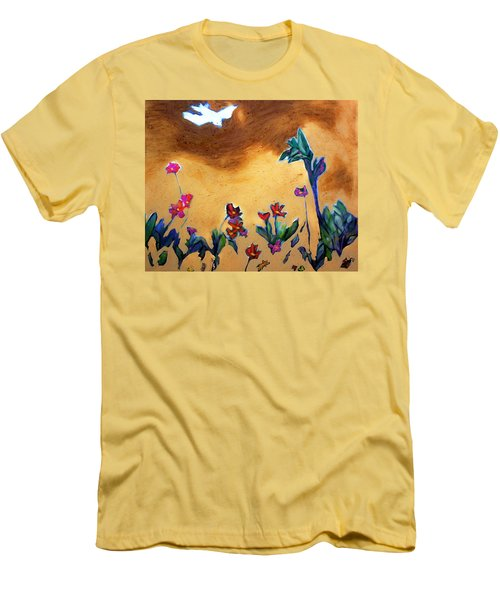 Men's T-Shirt (Slim Fit) featuring the painting Living Earth by Winsome Gunning