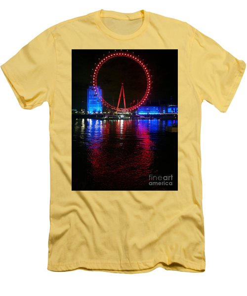 Men's T-Shirt (Slim Fit) featuring the photograph London Eye At Night by Hanza Turgul