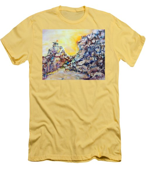 Men's T-Shirt (Slim Fit) featuring the painting Lonely Flower by Mary Schiros