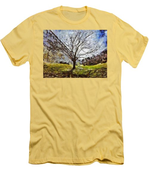Men's T-Shirt (Athletic Fit) featuring the painting Lonely Tree by Derek Gedney