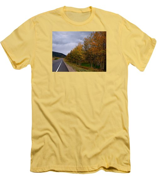 Men's T-Shirt (Slim Fit) featuring the photograph Long Lonesome Hiway by Laura Ragland