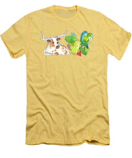 Longhorn And Valentine Cactus Men's T-Shirt (Athletic Fit)