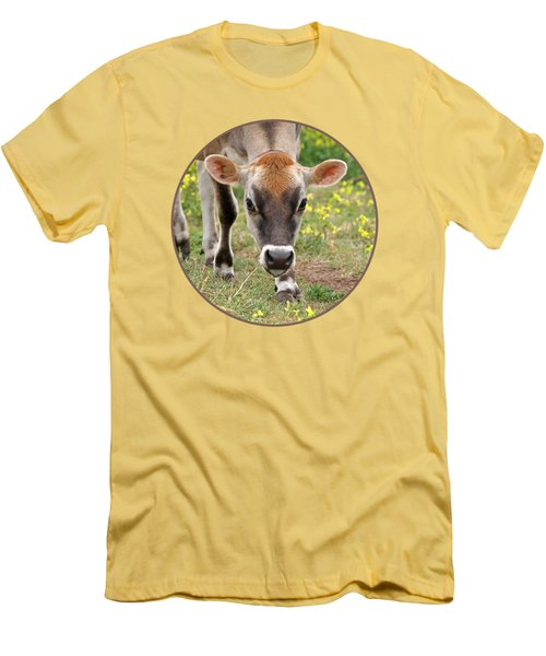 Look Into My Eyes - Jersey Cow - Square Men's T-Shirt (Slim Fit) by Gill Billington