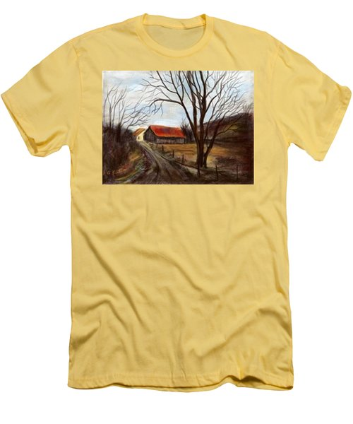 Men's T-Shirt (Slim Fit) featuring the painting Louisa Kentucky Barn by Gail Kirtz