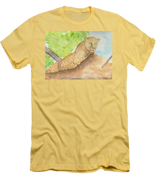 Men's T-Shirt (Slim Fit) featuring the painting Lounging Leopard by Vicki  Housel