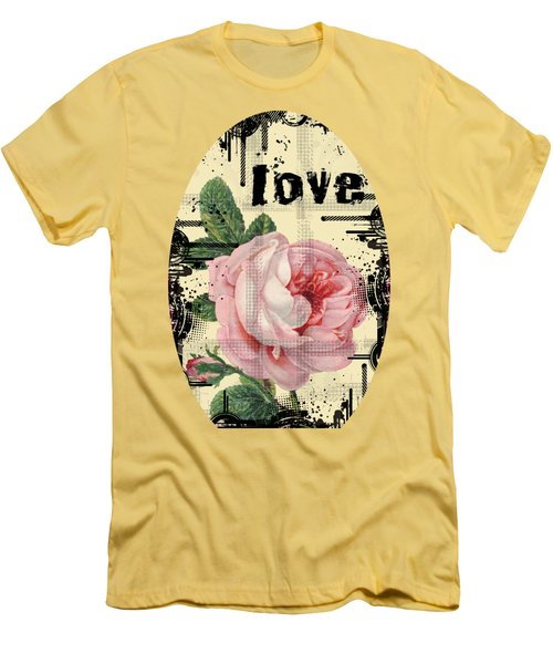 Men's T-Shirt (Athletic Fit) featuring the digital art Love Grunge Rose by Robert G Kernodle