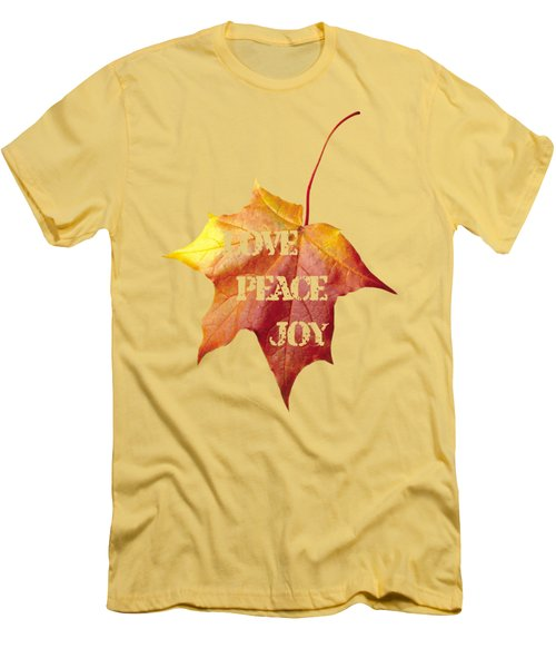 Men's T-Shirt (Slim Fit) featuring the painting Love Peace Joy Carved On Fall Leaf by Georgeta Blanaru