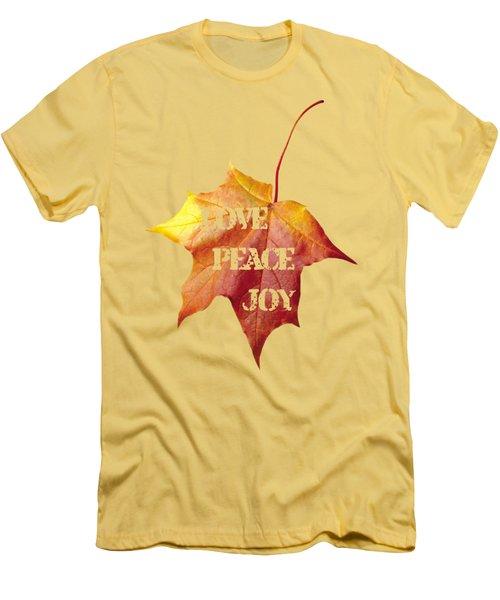 Love Peace Joy Carved On Fall Leaf Men's T-Shirt (Slim Fit) by Georgeta Blanaru