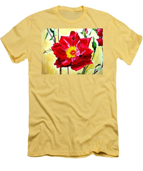 Men's T-Shirt (Slim Fit) featuring the painting Love Rose by Ana Maria Edulescu