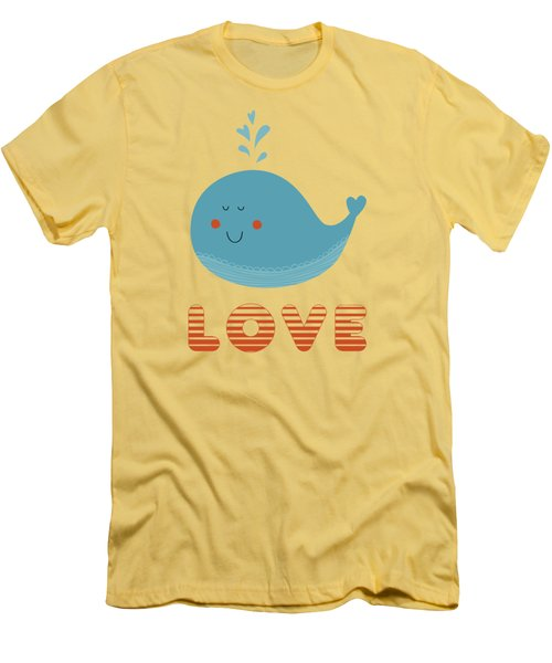 Love Whale Cute Animals Men's T-Shirt (Slim Fit) by Edward Fielding