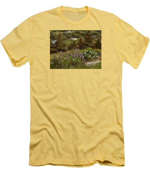 Lupine And Wild Roses Men's T-Shirt (Slim Fit) by Jane Thorpe