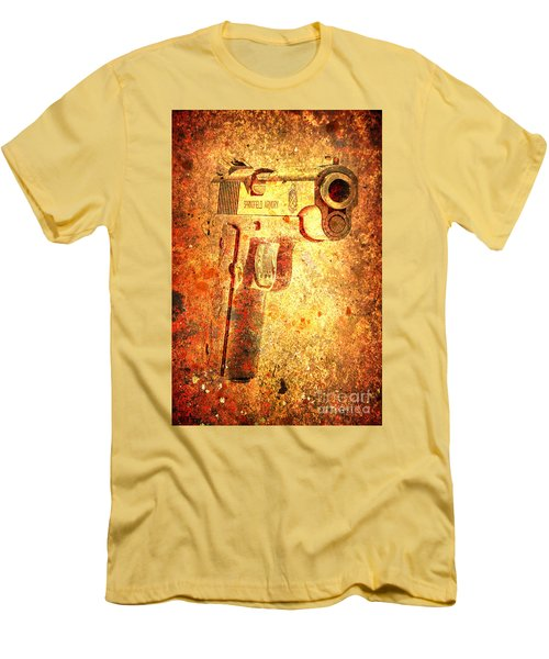 M1911 Muzzle On Rusted Background 3/4 View Men's T-Shirt (Slim Fit) by M L C