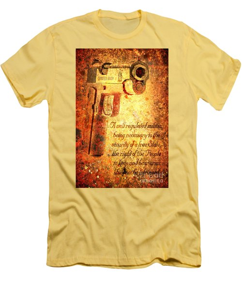 M1911 Pistol And Second Amendment On Rusted Overlay Men's T-Shirt (Slim Fit) by M L C