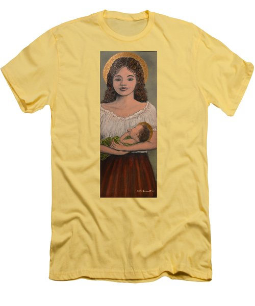 Men's T-Shirt (Slim Fit) featuring the painting Madonna Of The Red Skirt by Kathleen McDermott