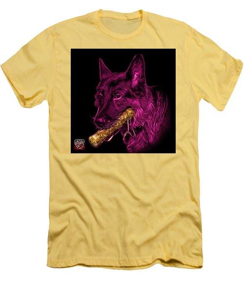 Men's T-Shirt (Slim Fit) featuring the digital art Magenta German Shepherd And Toy - 0745 F by James Ahn