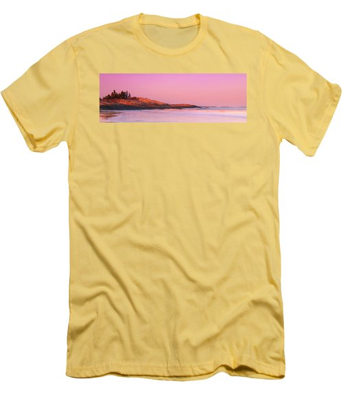 Maine Sheepscot River Bay With Cuckolds Lighthouse Sunset Panorama Men's T-Shirt (Slim Fit) by Ranjay Mitra