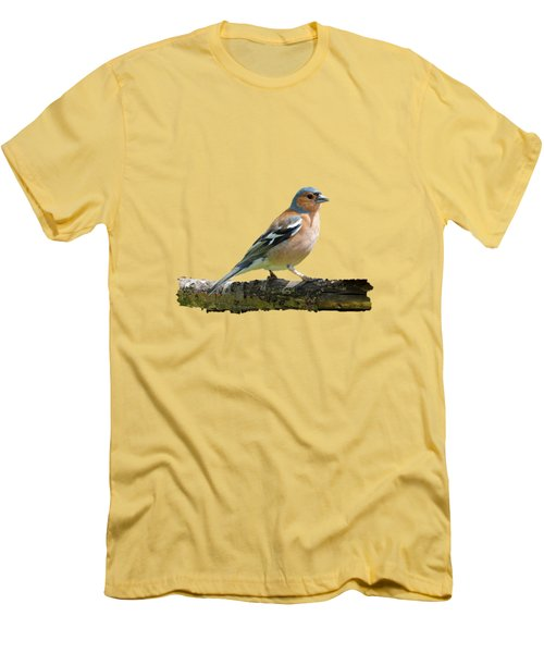 Men's T-Shirt (Slim Fit) featuring the photograph Male Chaffinch, Transparent Background by Paul Gulliver