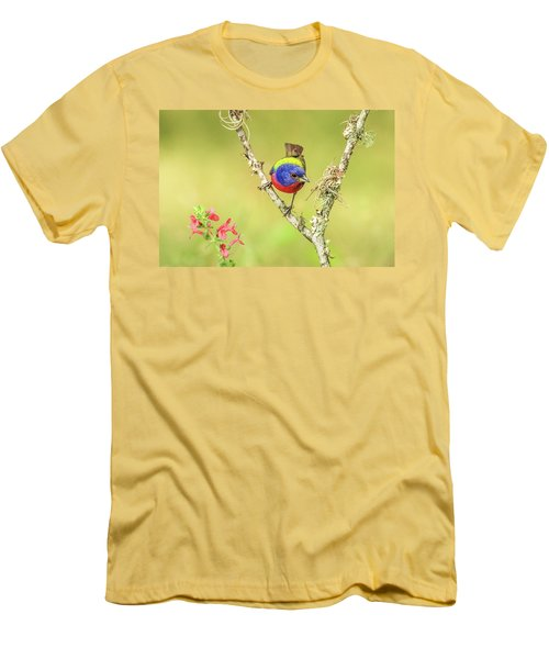Male Painted Bunting #2 Men's T-Shirt (Slim Fit) by Tom and Pat Cory