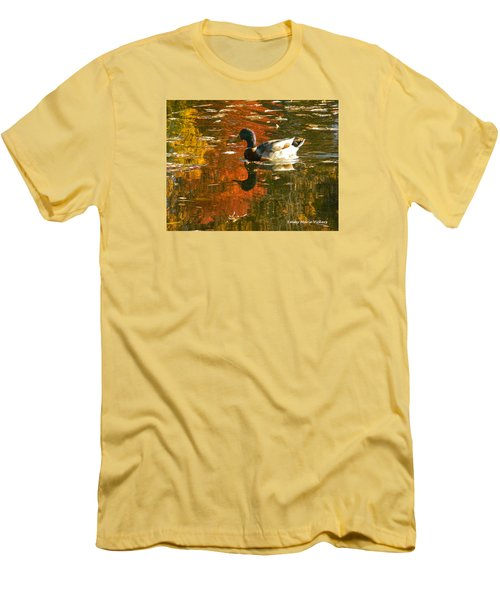 Men's T-Shirt (Slim Fit) featuring the photograph Mallard Duck In The Fall by Emmy Marie Vickers