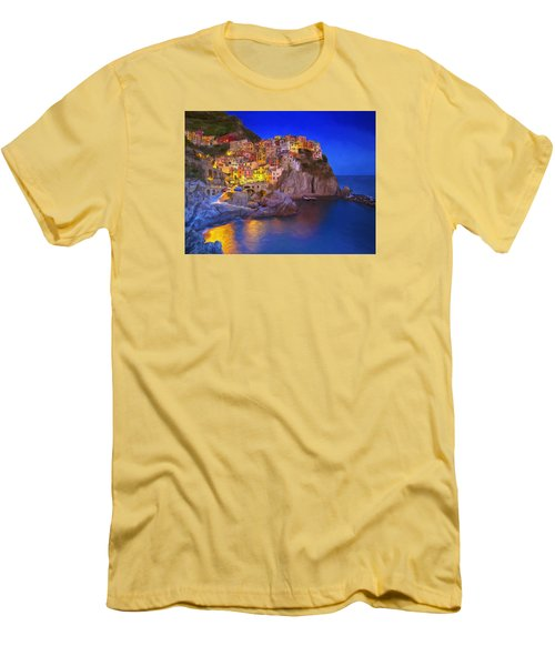 Manarola By Moonlight Men's T-Shirt (Slim Fit) by Dominic Piperata