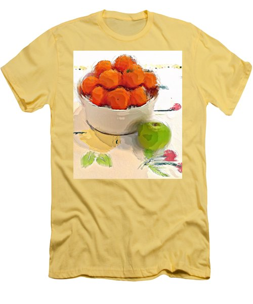 Men's T-Shirt (Slim Fit) featuring the digital art Mandarin With Apple by Alexis Rotella