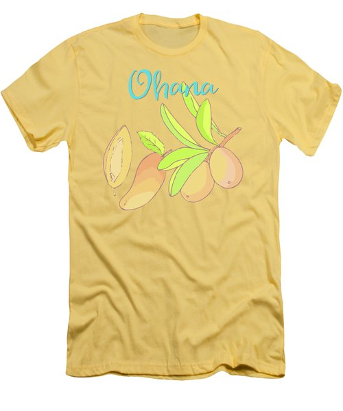 Mango Ohana Tropical Hawaiian Design Of Fruit And Family Men's T-Shirt (Slim Fit) by Tina Lavoie