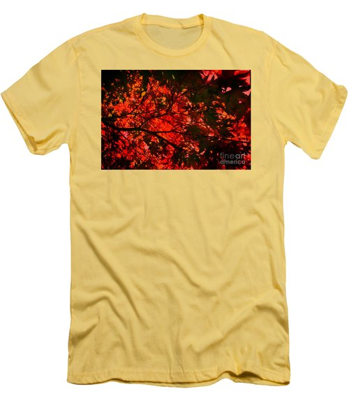 Maple Dance In Red Men's T-Shirt (Slim Fit) by Paul Cammarata
