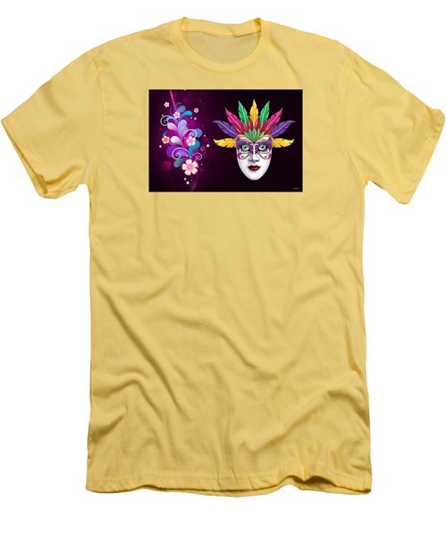 Men's T-Shirt (Slim Fit) featuring the photograph Mardi Gras Mask On Floral Background by Gary Crockett
