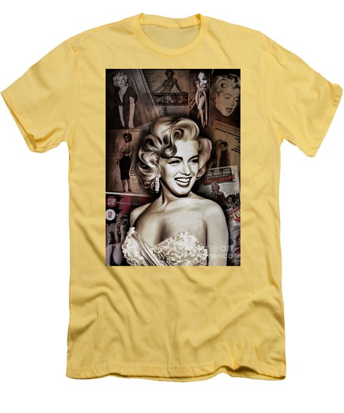 Men's T-Shirt (Slim Fit) featuring the painting   Marilyn Monroe 4  by Andrzej Szczerski