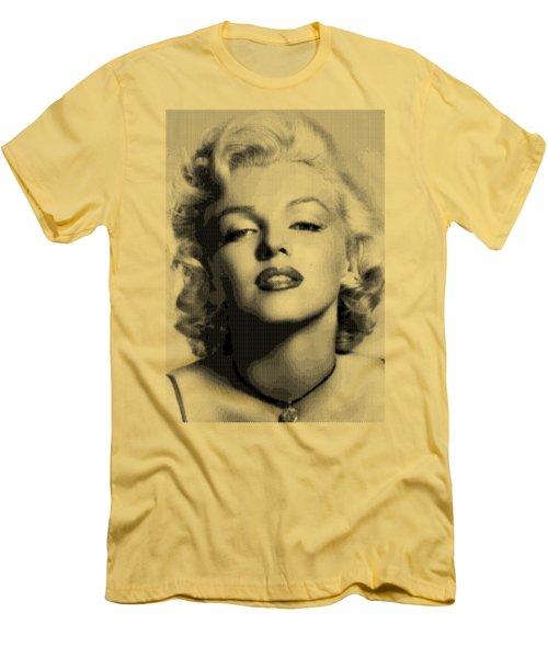 Marilyn Monroe - Bw Hexagons Men's T-Shirt (Slim Fit) by Samuel Majcen