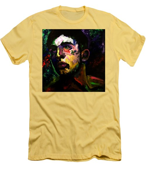 Men's T-Shirt (Slim Fit) featuring the painting Mark Webster Artist - Dave C. 0410 by Mark Webster Artist