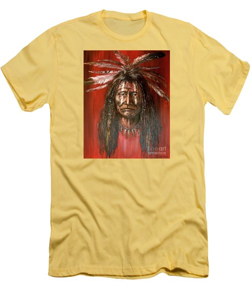 Men's T-Shirt (Slim Fit) featuring the painting Medicine Man by Arturas Slapsys