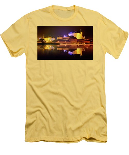 Medieval Castle By The Lake At Night Men's T-Shirt (Slim Fit) by Teemu Tretjakov