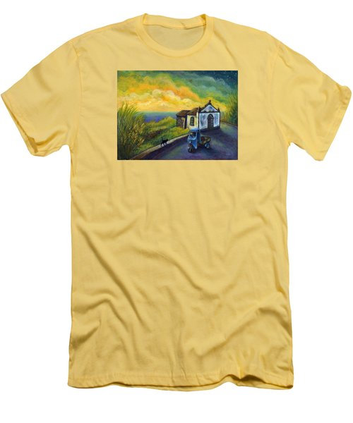 Memories Neath A Yellow Sky Men's T-Shirt (Slim Fit) by Retta Stephenson